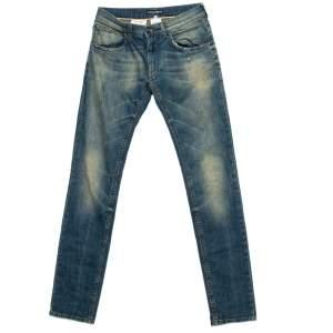 Dolce & Gabbana Blue Denim 14 Gold Distressed Tapered Jeans XS