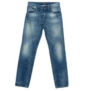 Dolce & Gabbana Blue Denim Painted Detail Straight Leg Jeans XS