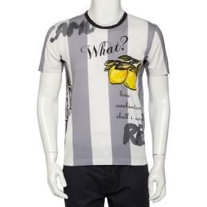 Dolce & Gabbana White & Grey Striped Lemon Printed Cotton Crewneck T-Shirt M