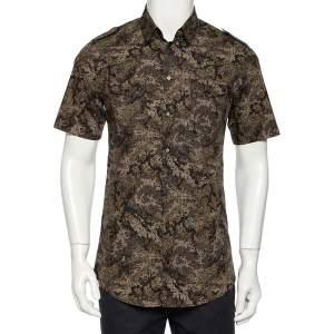 Dolce & Gabbana Black Pixel Camo Printed Cotton Short Sleeve Gold Shirt M