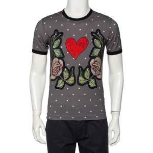 Dolce & Gabbana Grey Polka Dot Rose & Heart Printed Crewneck T-Shirt M