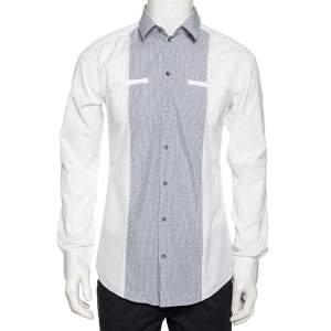 Dolce & Gabbana White Cotton Contrast Paneled Button Front Shirt M