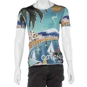 Dolce & Gabbana Blue Catania Tropical Ringer Printed Cotton T-shirt XS