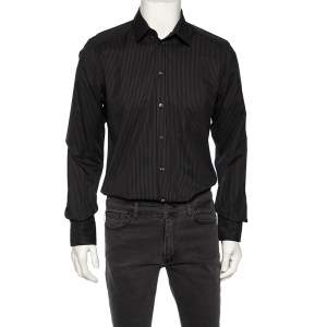 Dolce & Gabbana Black Striped Cotton Gold Label Shirt M