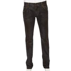 Dolce & Gabbana Brown Muddy Effect Denim 14 Fit Jeans L