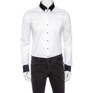 Dolce & Gabbana White Cotton Knit Contrast Polka Dot Collar Shirt L