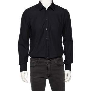 Dolce & Gabbana Navy Blue Check Patterned Cotton Shirt M