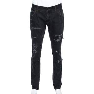 Dolce & Gabbana Charcoal Grey Distressed Denim Jeans L