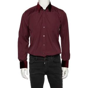 Dolce & Gabbana Burgundy Cotton Velvet Collar Martini Shirt M