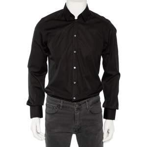 Dolce & Gabbana Black Cotton Front Button Shirt M