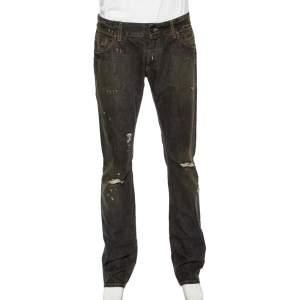 Dolce & Gabbana Charcoal Grey Muddy Effect Distressed Denim Fit 14 Jeans L
