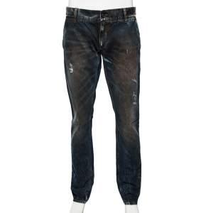 Dolce & Gabbana Blue Dark Wash Denim Muddy Effect Fit 14 Jeans L