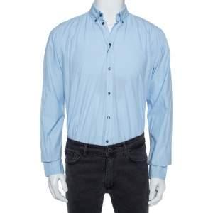 Dolce & Gabbana Sky Blue Cotton Button Front Martini Shirt M