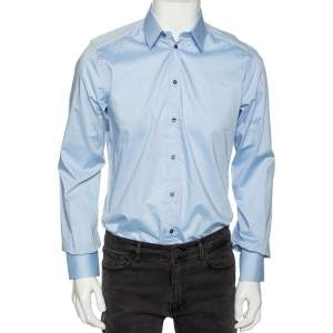 Dolce & Gabbana Light Blue Cotton Button Front Gold Label Shirt M