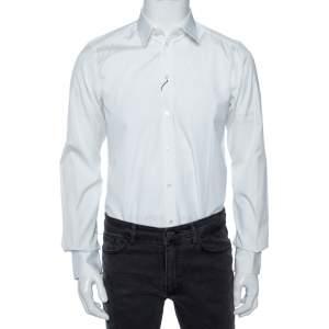 Dolce & Gabbana White Cotton Button Front Gold Label Shirt M