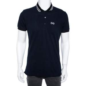 Dolce & Gabbana Navy Blue Cotton Striped Collar Detail Polo T-Shirt L