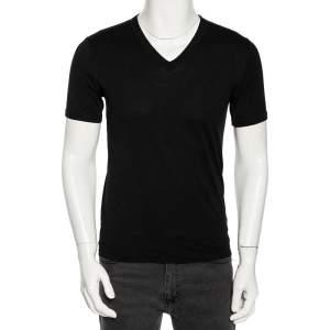 Dolce & Gabbana Black Cotton Jersey V Neck T-Shirt S