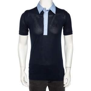 Dolce & Gabbana Navy Blue Jersey Contrast Collar Detail Polo T Shirt M