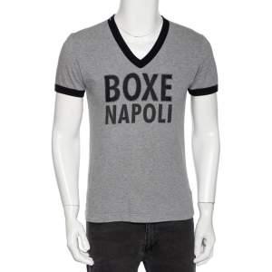 Dolce & Gabbana Grey Cotton Boxe Napoli V Neck T Shirt M