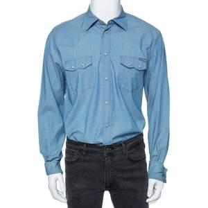 Dolce & Gabbana Light Blue Cotton Patch Pocket Detail Shirt XL