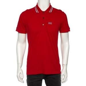Dolce & Gabbana Red Cotton Pique Striped Collar Detail Polo T-Shirt L