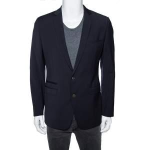 Dolce & Gabbana Navy Blue Wool Single Breasted Brad Blazer M