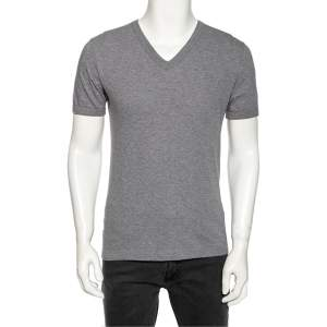 Dolce & Gabbana Grey Cotton V Neck T-Shirt S