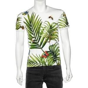 Dolce & Gabbana White Palermo Tropical Printed Cotton Crewneck T-Shirt M