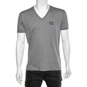 Dolce & Gabbana Grey Cotton Logo Plaque Detail V-Neck T-Shirt L