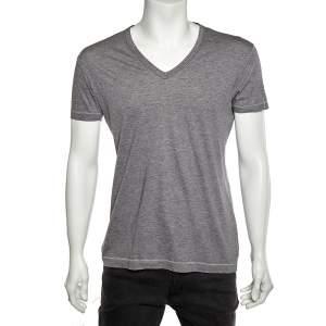 Dolce & Gabbana Grey Cotton V-Neck T-Shirt M
