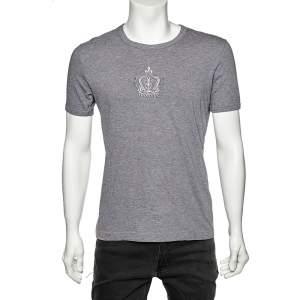 Dolce & Gabbana Grey Cotton Embroidered Crown Round Neck T-Shirt M