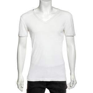 Dolce & Gabbana White Rib Knit V-Neck T-Shirt L