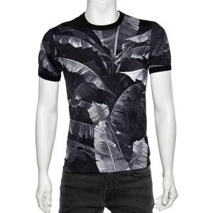 Dolce & Gabbana Black Banana Leaf Printed Cotton Crewneck T-Shirt M