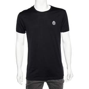 Dolce & Gabbana Black Cotton Logo Embroidery Detail Crewneck T-Shirt L