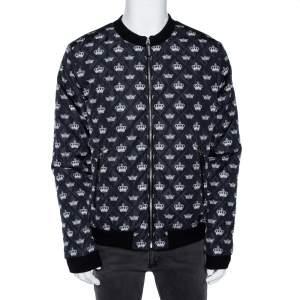 Dolce & Gabbana Black Quilted Crown Print Bomber Jacket XXL