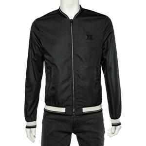 Dolce & Gabbana Dark Green Synthetic Rib Knit Trimmed Bomber Jacket S