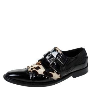 Dolce & Gabbana Black Patent Leather And Leopard Print Pony Hair Monk Strap Derby Size 41