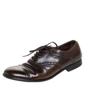 Dolce & Gabbana Brown Leather Bordeaux Cap Toe Oxfords Size 40.5