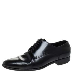 Dolce & Gabbana Black Leather Lace Up Derby Size 40.5