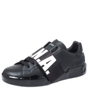 Dolce & Gabbana Black Leather Portofino Low Top Sneakers Size 43.5