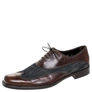 Dolce & Gabbana Blue Denim And Brown Leather Wingtip Lace Up Oxford Size 40.5