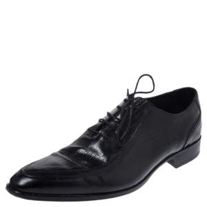 Dolce & Gabbana Black Lizard Embossed Leather Pointed Toe Oxfords Size 44