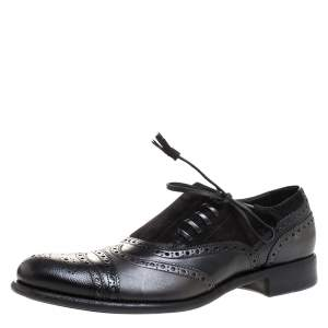 Dolce & Gabbana Black Brogue Leather and Suede Lace Oxford Size 44