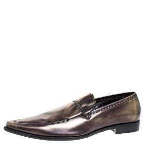 Dolce & Gabbana Metallic Two Tone Leather Slip On Loafers Size 44.5
