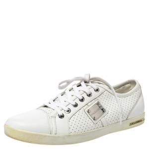 Dolce & Gabbana White Perforated Leather Logo Plaque Low Top Sneakers Size 44
