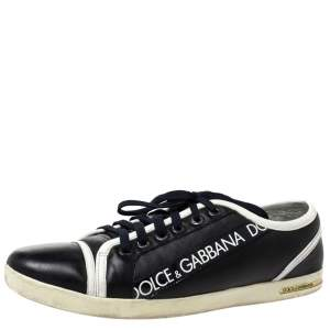 Dolce & Gabbana Black Leather Low Top Sneakers Size 44