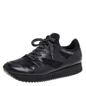 Dolce & Gabbana Black Leather, Fabric And Suede Low Top Sneakers Size 44
