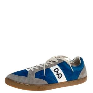 "Dolce & Gabbana Blue/Grey Suede ""Butterfly"" Low Top Sneakers Size 45"