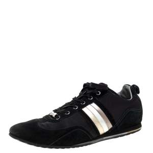 Dolce & Gabbana Black Suede and Canvas Lace Up Low Top Sneakers Size 43