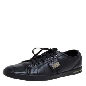 Dolce & Gabbana Black Leather Lace Low Top Sneakers Size 44.5